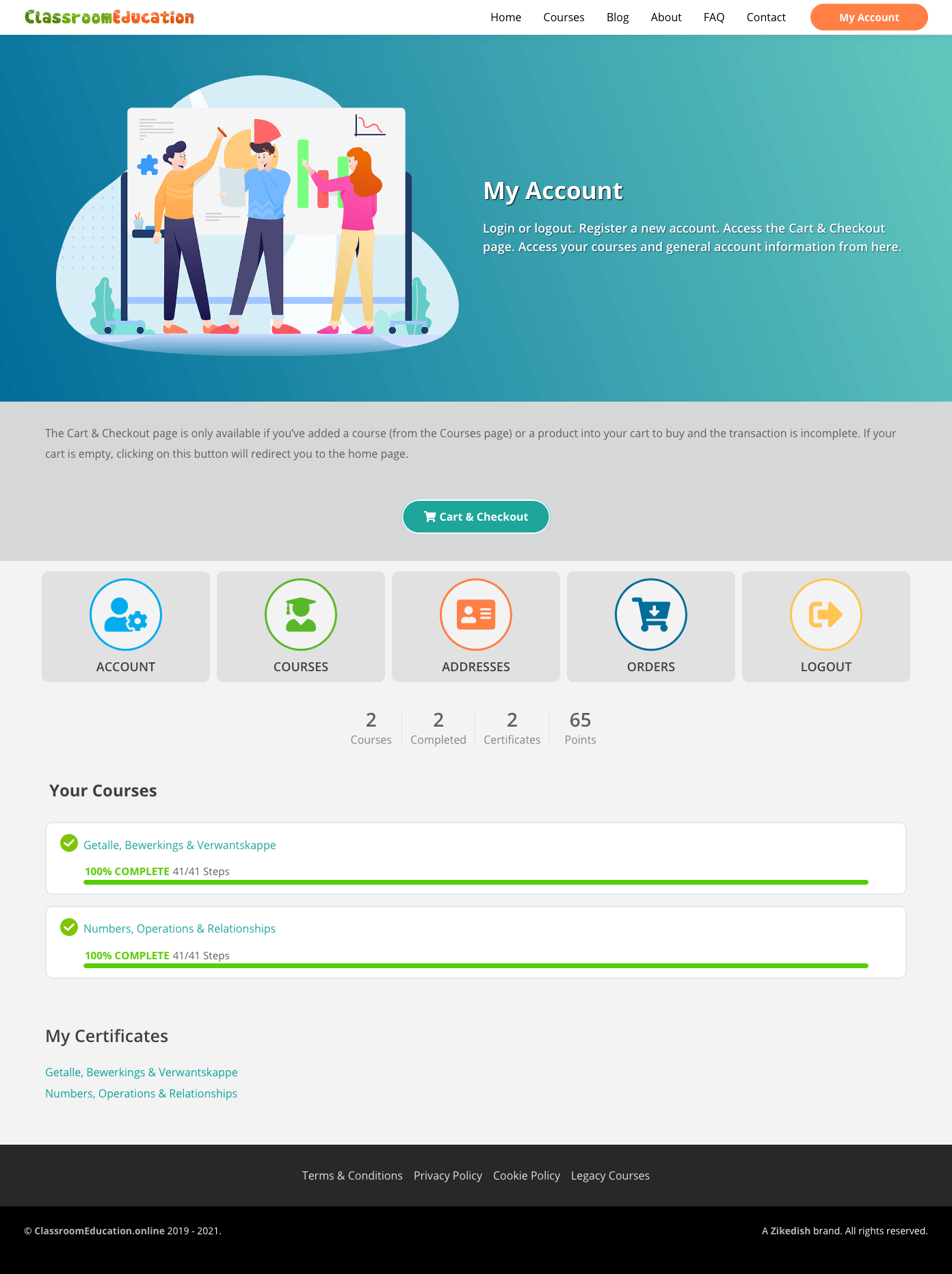 My Account-Logged-in-ClassroomEducation